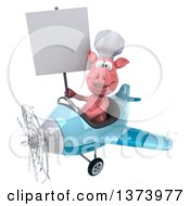 Clipart Of A 3d Pig Aviator Pilot Flying An Airplane On A White Background Royalty Free Illustration