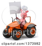 Poster, Art Print Of 3d Pig Operating A Tractor On A White Background