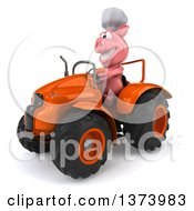 Clipart Of A 3d Pig Operating A Tractor On A White Background Royalty Free Illustration