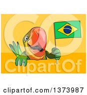 Clipart Of A Cartoon Green Parrot On A Yellow And Orange Background Royalty Free Illustration