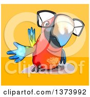 Clipart Of A Cartoon Bespectacled Scarlet Macaw Parrot On A Yellow And Orange Background Royalty Free Illustration