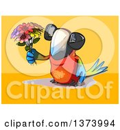 Clipart Of A Cartoon Scarlet Macaw Parrot On A Yellow And Orange Background Royalty Free Illustration