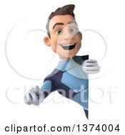 Clipart Of A 3d Full Length Young Brunette White Male Super Hero In A Dark Blue Suit On A White Background Royalty Free Illustration