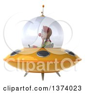 Clipart Of A 3d Funky Clown Flying A Ufo On A White Background Royalty Free Illustration