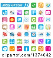 Clipart Of Colorful Square Mobile App Icons With Rounded Corners Royalty Free Vector Illustration by cidepix