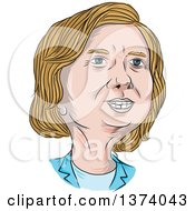 Clipart Of A Sketched Caricature Of Hillary Clinton Royalty Free Vector Illustration