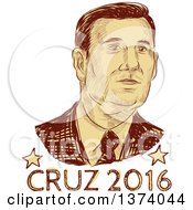 Clipart Of A Retro Brown Sketched Portrait Of Ted Cruz Over Text Royalty Free Vector Illustration