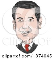 Clipart Of A Sketched Caricature Of Marco Rubio Royalty Free Vector Illustration