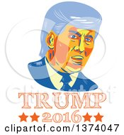 Clipart Of A Retro Styled Portrait Of Republican Presidential Nominee Donald Trump Over Text Royalty Free Vector Illustration