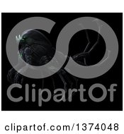 Clipart Of An Underground Alien Or Monster On A Black Background Royalty Free Illustration