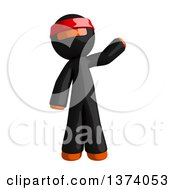 Clipart Of An Orange Man Ninja Waving On A White Background Royalty Free Illustration
