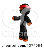Clipart Of An Orange Man Ninja Presenting To The Left On A White Background Royalty Free Illustration