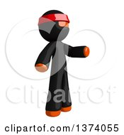 Clipart Of An Orange Man Ninja Presenting To The Right On A White Background Royalty Free Illustration