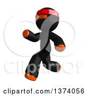Clipart Of An Orange Man Ninja Running To The Left On A White Background Royalty Free Illustration