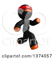 Clipart Of An Orange Man Ninja Running To The Right On A White Background Royalty Free Illustration