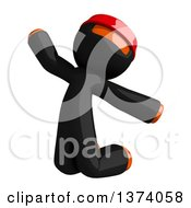 Clipart Of An Orange Man Ninja Jumping On A White Background Royalty Free Illustration