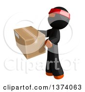 Clipart Of An Orange Man Ninja Holding A Box On A White Background Royalty Free Illustration