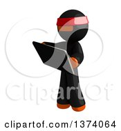 Clipart Of An Orange Man Ninja Using A Tablet Computer On A White Background Royalty Free Illustration by Leo Blanchette