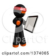 Clipart Of An Orange Man Ninja Using A Tablet Computer On A White Background Royalty Free Illustration