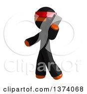 Orange Man Ninja Talking On A Smart Phone On A White Background