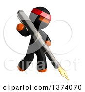Clipart Of An Orange Man Ninja Writing With A Fountain Pen On A White Background Royalty Free Illustration