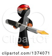 Clipart Of An Orange Man Ninja Holding A Fountain Pen On A White Background Royalty Free Illustration