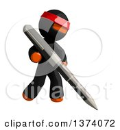 Clipart Of An Orange Man Ninja Writing With A Pen On A White Background Royalty Free Illustration