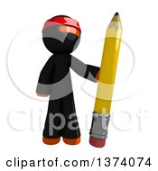 Clipart Of An Orange Man Ninja Holding A Pencil On A White Background Royalty Free Illustration