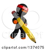 Clipart Of An Orange Man Ninja Using A Pencil On A White Background Royalty Free Illustration