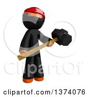 Clipart Of An Orange Man Ninja Holding A Sledgehammer On A White Background Royalty Free Illustration