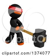 Clipart Of An Orange Man Ninja Swinging A Sledgehammer On A White Background Royalty Free Illustration