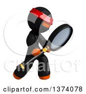 Clipart Of An Orange Man Ninja Searching With A Magnifying Glass On A White Background Royalty Free Illustration