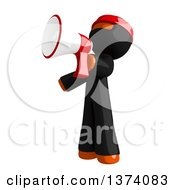 Clipart Of An Orange Man Ninja Announcing With A Megaphone On A White Background Royalty Free Illustration