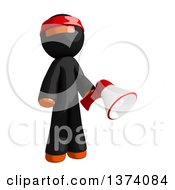 Clipart Of An Orange Man Ninja Holding A Megaphone On A White Background Royalty Free Illustration