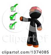 Clipart Of An Orange Man Ninja Presenting A Check List On A White Background Royalty Free Illustration