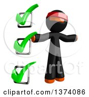 Clipart Of An Orange Man Ninja By A Check List On A White Background Royalty Free Illustration