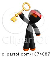 Clipart Of An Orange Man Ninja Holding Up A Key On A White Background Royalty Free Illustration