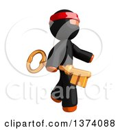 Clipart Of An Orange Man Ninja Carrying A Key On A White Background Royalty Free Illustration