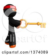 Clipart Of An Orange Man Ninja Using A Key On A White Background Royalty Free Illustration