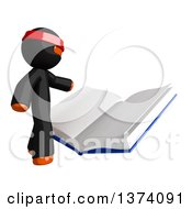 Clipart Of An Orange Man Ninja Reading A Book On A White Background Royalty Free Illustration by Leo Blanchette