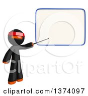 Clipart Of An Orange Man Ninja Pointing To A White Board On A White Background Royalty Free Illustration