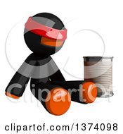 Orange Man Ninja Begging And Sitting With A Can On A White Background