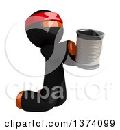Orange Man Ninja Begging And Kneeling With A Can On A White Background