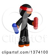 Clipart Of An Orange Man Ninja Holding Blue And Red Pill Capsules On A White Background Royalty Free Illustration by Leo Blanchette