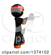 Clipart Of An Orange Man Ninja Reading A Scroll On A White Background Royalty Free Illustration