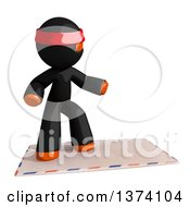 Clipart Of An Orange Man Ninja Surfing On An Envelope On A White Background Royalty Free Illustration by Leo Blanchette