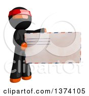Clipart Of An Orange Man Ninja Holding An Envelope On A White Background Royalty Free Illustration