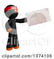 Clipart Of An Orange Man Ninja Holding An Envelope On A White Background Royalty Free Illustration by Leo Blanchette