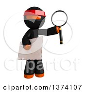 Clipart Of An Orange Man Ninja Holding An Envelope And Magnifying Glass On A White Background Royalty Free Illustration
