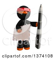 Clipart Of An Orange Man Ninja Holding An Envelope And Pen On A White Background Royalty Free Illustration by Leo Blanchette